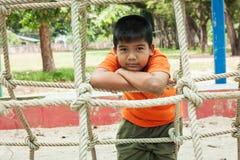 asian cute  boy at playground Stock Photo