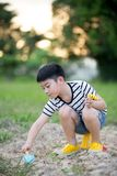 Asian cute boy playing with toys in garden Stock Photography