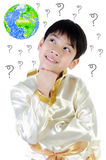Asian cute boy in thai costume on white background . Royalty Free Stock Photography