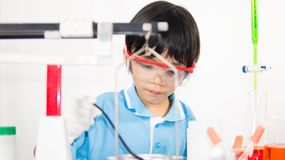 Asian cute child learning science in laboratory on gray whit background. Cute child girl playing and funny in knowledge about lab experiment and instrument of Stock Images