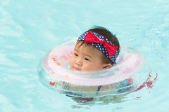 Asian cute eight month baby playing swimming pool. Stock Images