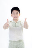 Asian cute smile boy acting LIKE on hand.  Royalty Free Stock Image