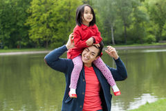 Asian dad and daughter Royalty Free Stock Photos