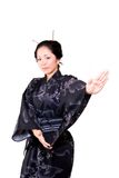 Asian dance. Japanese woman in traditional and cultural dance stock photography