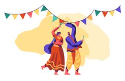Asian Dance at National Festival in India. Traditional Dancing Show. People Dancer Performing Folk Choreography at Ceremonial. Performance. Ethnic Festive vector illustration
