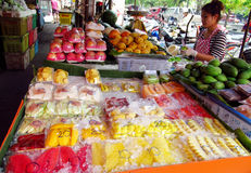Asian day and night food market in Thailand Royalty Free Stock Images