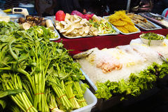 Asian day and night food market in Thailand Stock Image