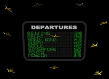 Asian Departure board with planes Stock Images
