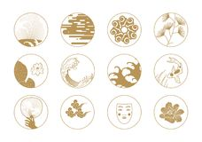 Asian Design Elements. Icons with classic Asian details of illustrations Royalty Free Stock Photo