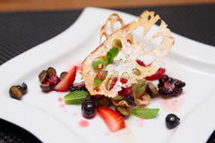 Asian dessert with lotus root and berries Royalty Free Stock Photography