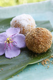 Asian dessert, rice cake. On the dish. Focus on the first one, shallow field of depth Royalty Free Stock Photos