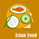 Asian dinner dishes of thai cuisine Stock Images