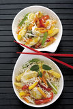 Asian dish with chicken, different vegetables and rice Stock Images