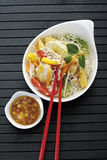 Asian dish with chicken, different vegetables and rice Royalty Free Stock Image