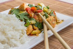 Asian dish with chicken, vegetables and cilantro Royalty Free Stock Image