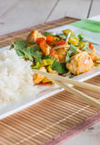 Asian dish with chicken, vegetables and cilantro Royalty Free Stock Images