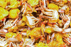 Asian dish with fried crabs served on the street in Beijing Stock Image