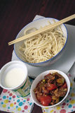 Asian dish. Lagman is a popular Central Asian national dish, prepared from meat, vegetables and drawn long noodles royalty free stock image