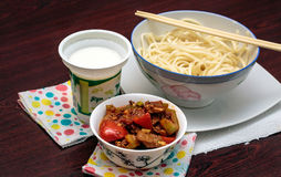 Asian dish. Lagman is a popular Central Asian national dish, prepared from meat, vegetables and drawn long noodles stock photography