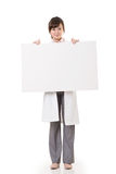 Asian doctor woman holding blank board. Full length portrait isolated on white background Stock Image