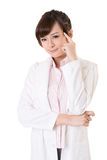 Asian doctor woman thinking Royalty Free Stock Photography