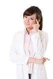Asian doctor woman thinking Royalty Free Stock Photos
