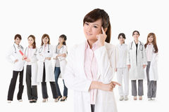 Asian doctor woman thinking Stock Photos