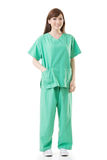 Asian doctor woman wear a isolation gown or operation gown Royalty Free Stock Image
