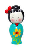 Asian doll wooden statue isolated Royalty Free Stock Image