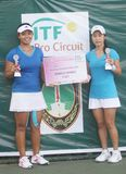 Asian double tennis Royalty Free Stock Photos