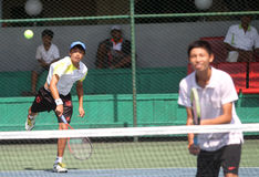 Asian double tennis Royalty Free Stock Photos
