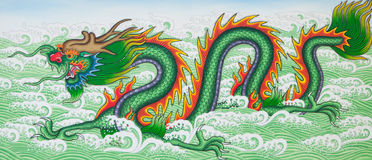 Asian dragon. Chinese dragon art paint , public art paint in temple of Thailand stock images