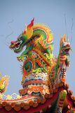 Asian dragon. On temple roof Royalty Free Stock Photo