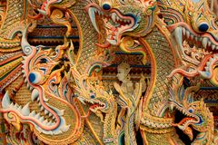 Asian dragon background. In Thailand Stock Photos