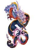 Asian dragon. Bright dragon holding yin yang sign and a sword Stock Image