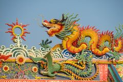Asian dragon in the chinese temple. Dragon face statue in the chinese temple. Red asian dragon royalty free stock image