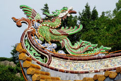 Asian dragon colorful ornament on the roof Stock Image