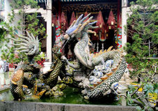 Asian dragon colorful sculpture Royalty Free Stock Photos