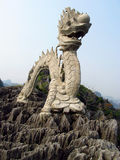 Asian dragon marble sculpture at the mountain top Royalty Free Stock Photography