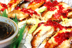 Asian Dragon Roll with Eel and Caviar Royalty Free Stock Images
