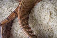 Asian dried gelatin noodles food in wooden baskets. Close up Royalty Free Stock Photography