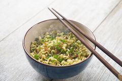 Asian dried ramen noodles bowl Stock Photo