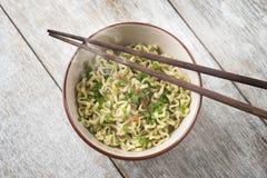 Asian dried ramen noodles bowl top view Stock Photos