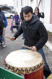 Asian drummer on lunar new years. Royalty Free Stock Images