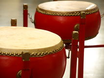 Asian drums. Photo of asian drums, red drums Stock Photography