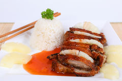 Asian duck with rice Stock Photo