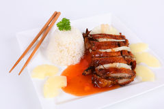 Asian duck with rice Stock Photography