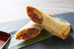 Asian Duck rolls with sweet and sour sauce Stock Photos