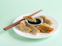 Asian dumpling. Homemade asian dumpling with soy sauce, selective focus Royalty Free Stock Photography