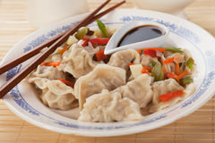 Asian dumplings with vegetable and soy sauce Stock Photos